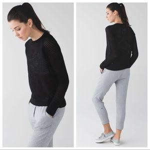 New Lululemon Devi Crew Sweater Black Pointelle 6